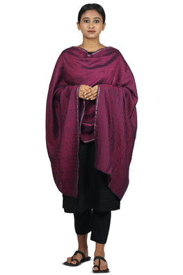 Mulberry silk, handspun cotton, zari Azo free dyed stole-2-shaft weave-style 656