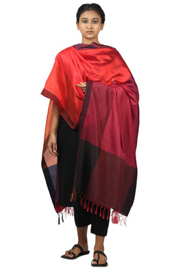 Mulberry silk, handspun cotton Azo free dyed dupatta-2-shaft weave-style 672