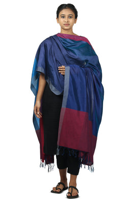Mulberry silk, handspun cotton Azo free dyed dupatta-2-shaft weave-style 673