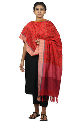 Mulberry silk, handspun cotton Azo free dyed dupatta-2-shaft weave-style 873