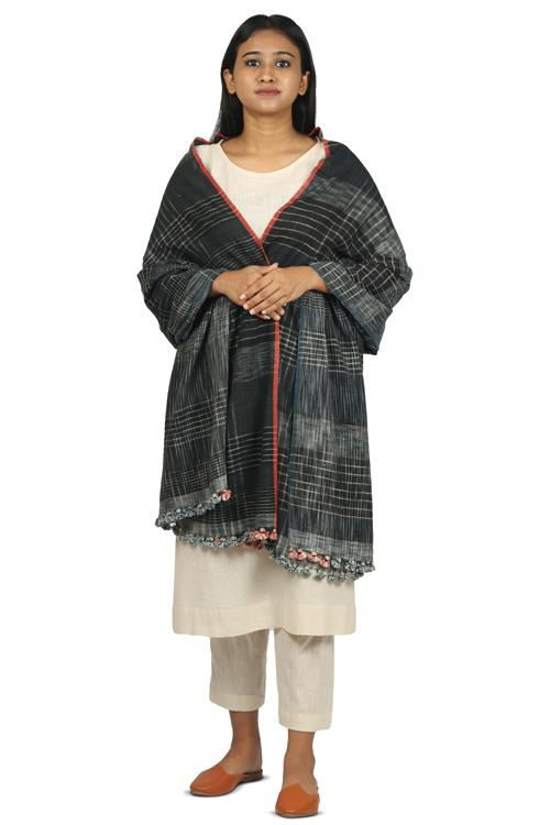 Handwoven Cotton organic cotton Natural dyed stole-2-shaft weave-style 888