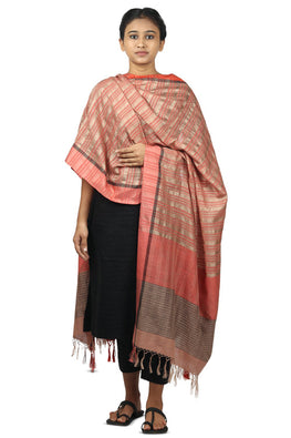 Mulberry silk, handspun cotton Azo free dyed dupatta-2-shaft weave-style 946