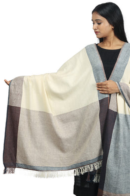 Handspun cotton Azo-free dyed dupatta-2-shaft weave-style 1045