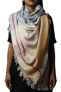 Textured White Dupatta with Mustard Border