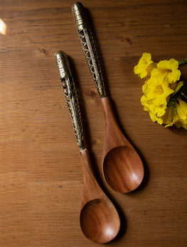 Wood & Dhokra Craft Serving Spoons (Set of 2)