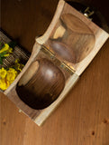 Wooden Log Box & Dhokra Flower Knob