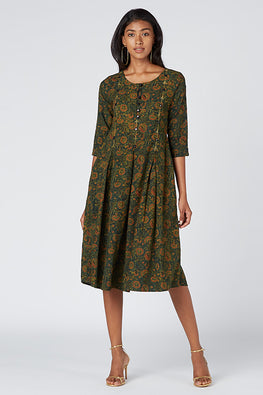 Okhai 'Rainforest' Hand Block Print Cotton Dress
