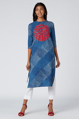 Okhai 'Anthea' Appliqué Cotton Indigo Dhabu