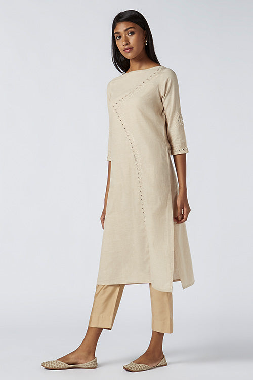 Okhai Ayura Embroidered Cotton Kurti For Women Online