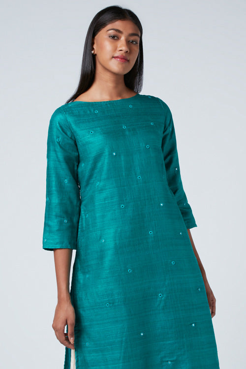 Okhai 'Andaman' Embroidered Matka Silk Blend Kurta