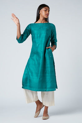 Andaman Hand embroidered Matka Silk kurta for women
