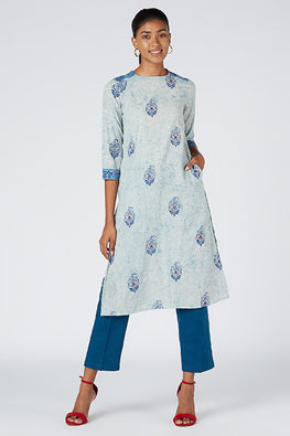 Okhai 'Muse' Cotton Hand Block Print Kurta