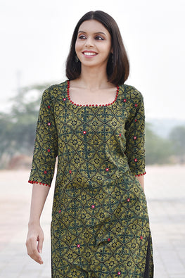 Okhai 'Happy Harvest' Ajrakh Cotton Kurta