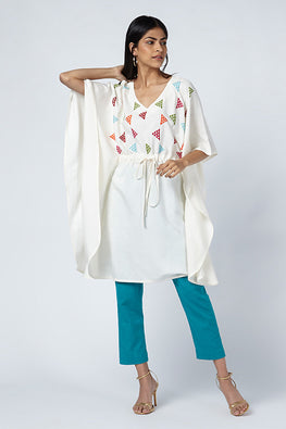 Okhai 'Celebration' Embroidered Handloom Cotton Silk Kaftan