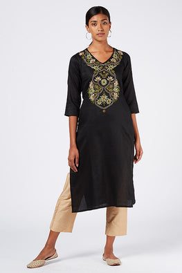 Okhai 'Queen's Garden' Embroidered Cotton Satin Kurta