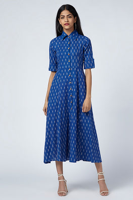 Okhai Bluebird Dark Blue Cotton Ikat Shirt Dress Online
