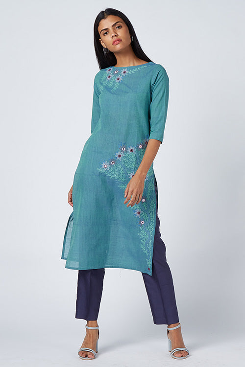 Okhai Blue Eden Embroidered Cotton Kurti For Women Online