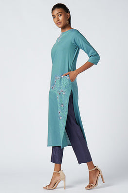 Okhai 'Blue Eden' Embroidered Cotton Mangalgiri Kurta