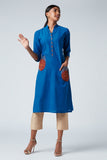 Okhai Whimsy Hand Embroidered  Mirror Work Cotton Kurti For Ladies Online