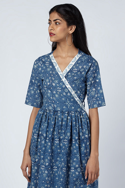 Okhai 'Lara' Embroidered Cotton Hand Block Print Wrap Dress