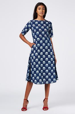 Okhai 'Nilgiri' Indigo Cotton Dhabu Block Print Dress