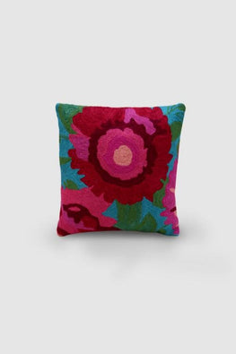 Hand Embroidered Blue and Pink Woollen Cushion Cover 12x12 Online
