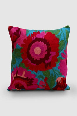 Hand Embroidered Blue and Pink Woollen Cushion Cover 16x16 Online