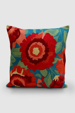 Hand Embroidered Blue and Orange Woollen Cushion Cover 16x16 Online