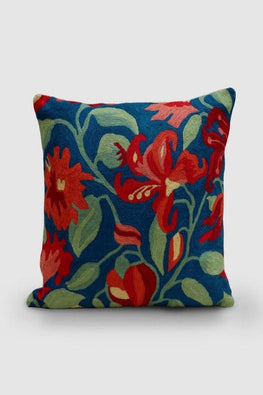 Hand Embroidered Persian Blue and Orange Woollen Cushion Cover 16x16 Online