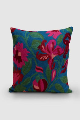 Hand Embroidered Blue and Fusica Woollen Cushion Cover 16x16 Online