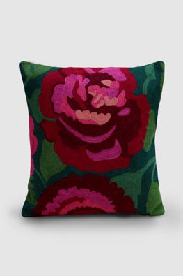 Hand Embroidered Pink and Maroon Woollen Cushion Cover 16x16 Online