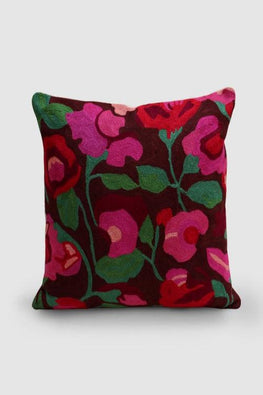 Hand Embroidered Brown and Fuscia Woollen Cushion Cover 16x16 Online