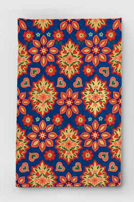Hand Embroidered Blue and Yellow Woollen Rug Online