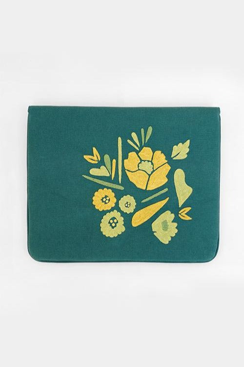 "Corsage- Aari Embroidered Laptop Sleeve Green Size : 15.5"" by 11"""