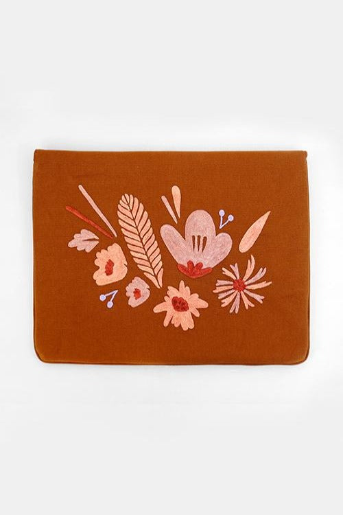 "Bouquet - Aari Embroidered Laptop Sleeve Brown Size : 13.5"" by 10"""