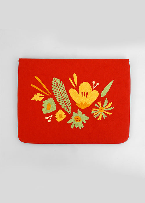 "Bouquet - Aari Embroidered Laptop Sleeve Red  Size : 15.5"" by 11"""