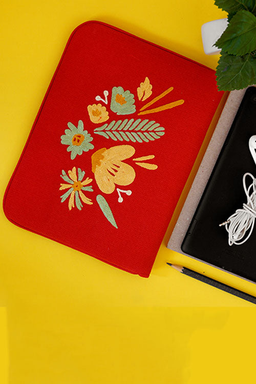 "Bouquet - Aari Embroidered Laptop Sleeve Red  Size : 10.5"" by 7.5"""