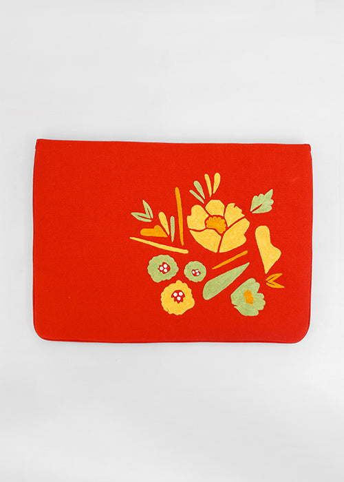 "Corsage- Aari Embroidered Laptop Sleeve Red Size : 15.5"" by 11"""