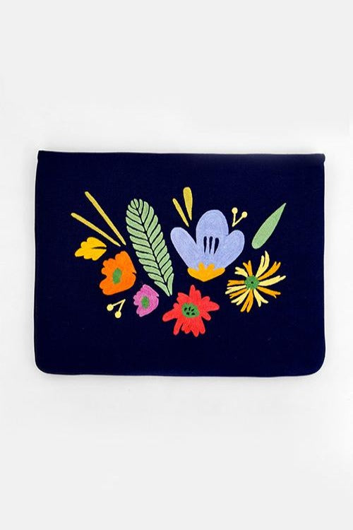 "Bouquet - Aari Embroidered Laptop Sleeve Navy Blue Size: 10.5"" by 7.5"""