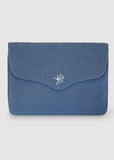 "Bouquet - Aari Embroidered Laptop Sleeve Light Blue Size : 15.5"" by 11"""