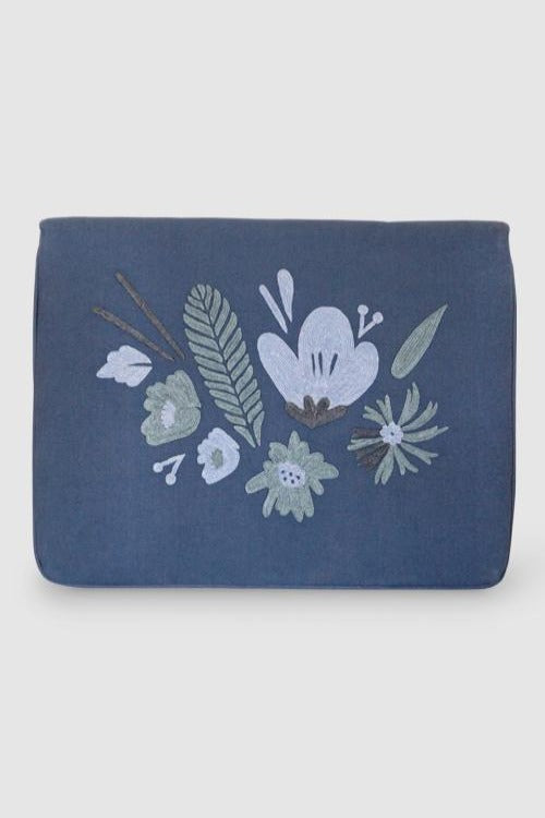 "Bouquet - Aari Embroidered Laptop Sleeve Light Blue Size : 10.5"" by 7.5"""