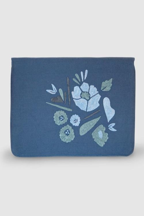 "Corsage- Aari Embroidered Laptop Sleeve Light Blue Size : 13.5"" by 10"""