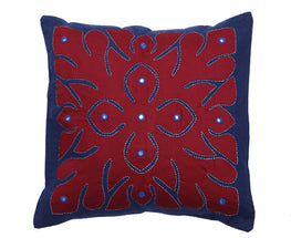 """Okhai Maroon Appliqued Cushion Cover"""
