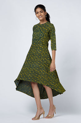 Okhai 'Jade' Appliqué Cotton Ajrakh Dress