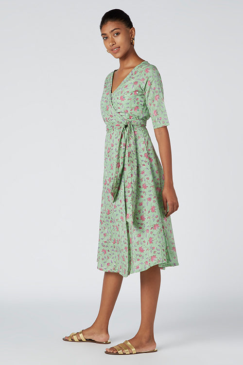 Buy Okhai Begonias Hand Block Print Cotton Wrap Dress For Women Online