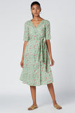 Okhai 'Begonias' Cotton Hand Block Print Wrap Dress