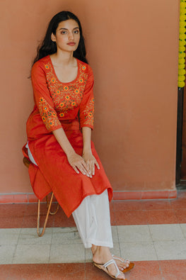 Okhai 'Dusk' Embroidered Cotton Handloom Kurta