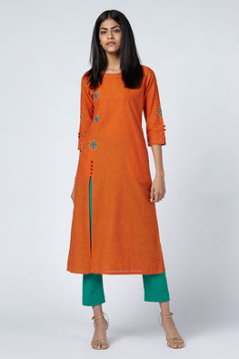 Okhai 'Agni' Embroidered Cotton Handloom Kurta