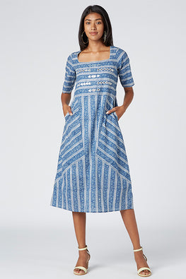 Okhai 'Elsa' Cotton Hand Block Print Embroidered Dress