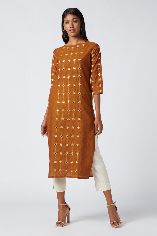Okhai 'Empower' Embroidered Cotton Kurta